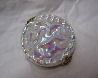 Aurora Texture White Gold Brooch Glass Vintage Pin