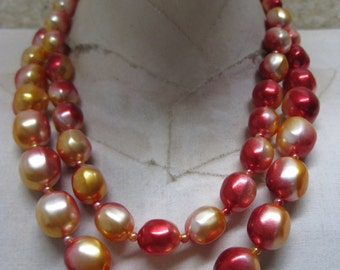Gold Red Pearl Two Strand Necklace Vintage Japan