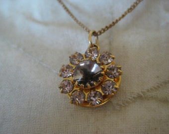 Flower Purple Gold Necklace Rhinestone Vintage Pendant