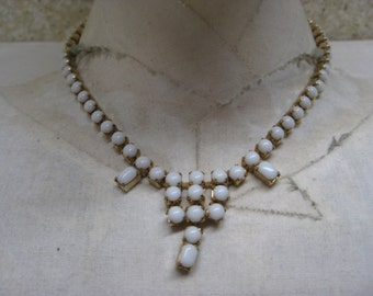 White Glass Necklace Gold Vintage