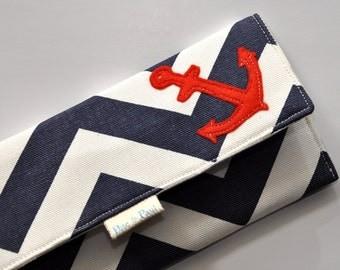 NAUTICAL WALLET // Women's Wallet, Anchor Wallet, Chevron Wallet, Women Wallets, Anchors Aweigh