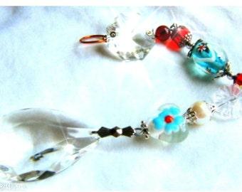 SHABBY VICTORIAN Art Glass Crystal Ornament, Suncatcher, Sun Catcher, Feng Shui, Home Decor Jewel