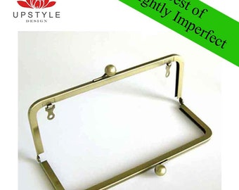 TWO Dollars Each - BEST of Slightly Imperfect Clutch Purse Frames - Antique Brass with chain loops - Set of 6 Frames