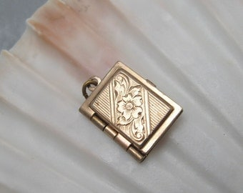 Antique Sterling Book Locket Small Gilt Floral Vintage Jewelry C5906