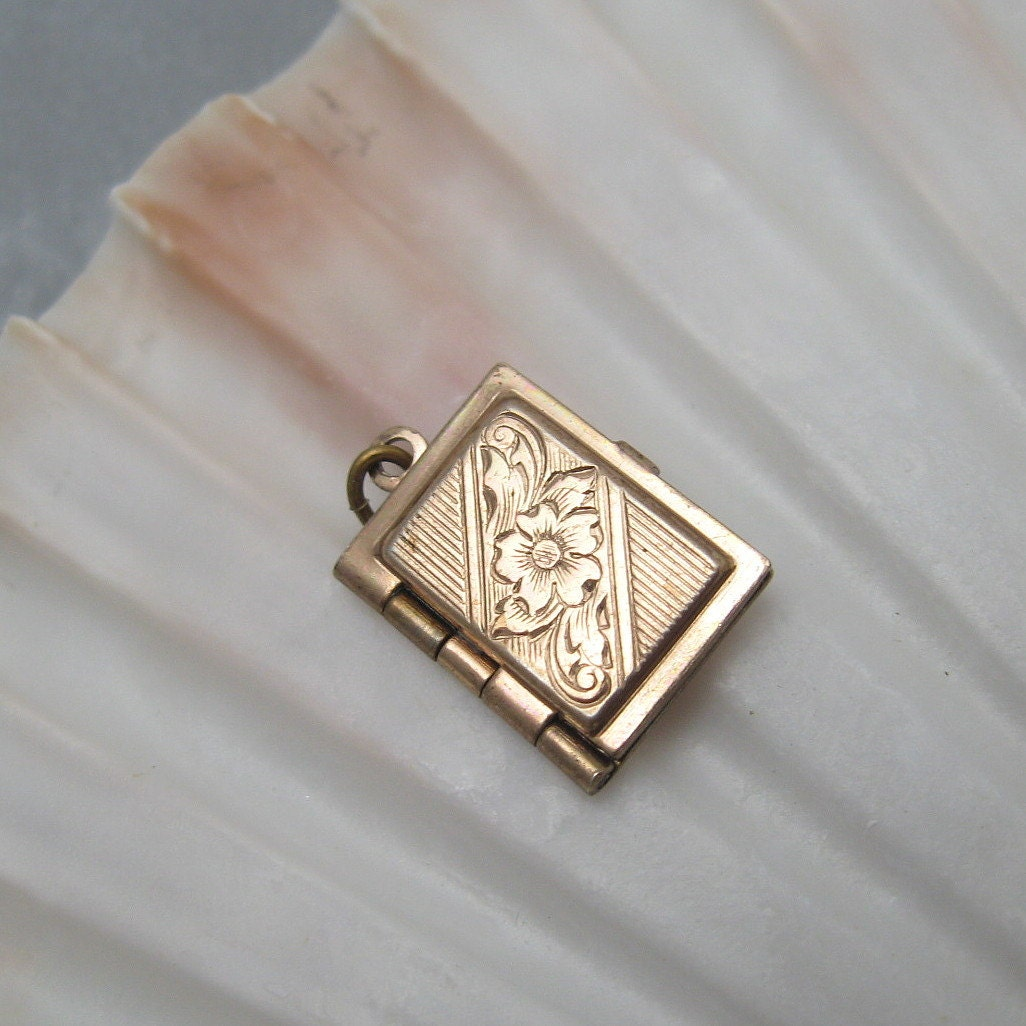 antique sterling book locket small gilt floral vintage jewelry