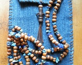 Semi Precious Lapis Lazuli and Olive Wood Beaded Unisex Long Necklace and Pouch