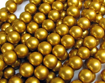 Gold Glass Pearls 10mm