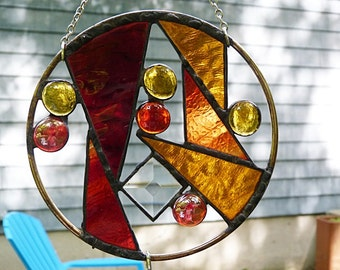 Stained Glass, Garden Art, Brass Ring, Suncatcher, Decorative Beads, and Mirrors