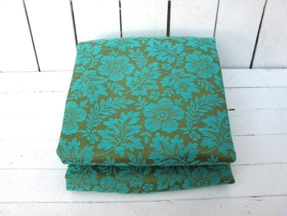 Vintage turquoise green brocade drapery panels by - Green and turquoise curtains ...