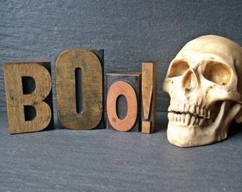 BOO - Large Vintage Letterpress Word for Halloween