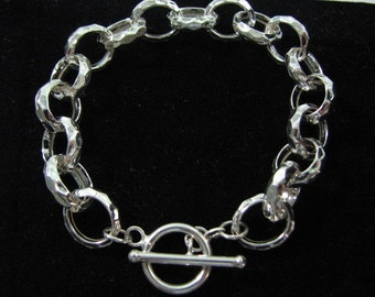 Hammered Silver Rolo Bracelet with Toggle Clasp, 15mm X 12mm Oval Links, 925 Sterling Silver, Bold Charm Bracelet