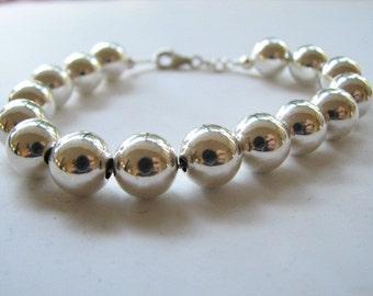 Sterling Silver 8mm Ball Bracelet Classic and Elegant 8 inch