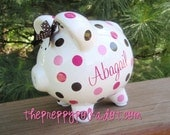Personalized Polka Dot Piggy Bank {5 inch size}