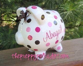 Personalized Polka Dot Piggy Bank {5 inch size}
