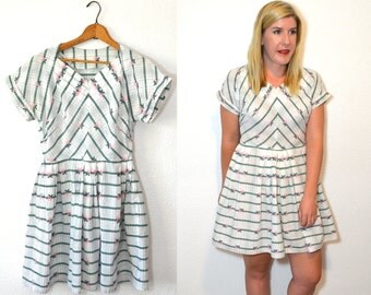 Little White Dress - White Floral Dress - Fit and Flare Dress - 60s Dress