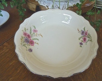 "VinTage ""Homer Laughlin VIRGINIA ROSE"" China Bowl--pink and PurpLe floral pattern-loveLy"