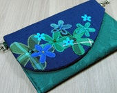 Small Blue and Green Tartan Flower Clutch - Evening Bag - Purse - Detachable Chain - Zip - Pocket - Wedding - Party - Scottish - Gift