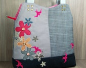 Shoulder Bag with Zip - Flowers - Birds - Grey - Pink - Tan - Inside Pockets - Beaded - Tartan