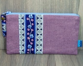 Purse - Wallet - Money Pouch - Coin Purse - Two Zip Pockets - Ladies - Card holder - Lilac - Mauve - Purple - Baby Pink - Flowers - Abstract