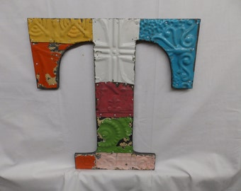 "Tin Ceiling Wrapped 16"" Letter ""T"" Patchwork Reclaimed Metal Mosaic Wall Hanging S2135-14"