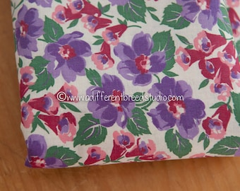 Beautiful Garden Floral  - Vintage Fabric 36 inches wide 40s 50a New Old Stock Purples Pinks