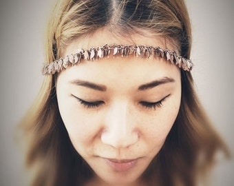 Grecian Chains HeadPiece - Soldered Leaves Charms - Rhodium - Domestic Free Shipping
