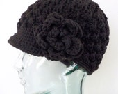 Warm and Wintery Black Peaked Beanie and Removable Floral Accent Pin
