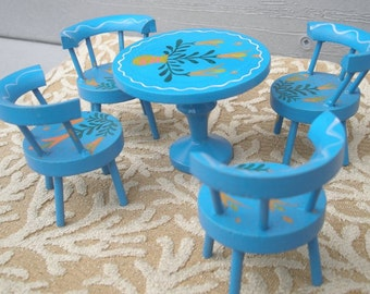 Vintage Handpainted Wooden Doll Furniture by Formerz - Blue Table and 4 Chairs with Lily Floral Design