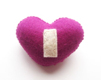 Handmade Felt Love Heart Brooch - Letter I - assorted colours