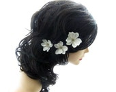 Ivory Flower Hair Pins - set of 3 - Wedding Hair Accessories, Small Hair Flowers