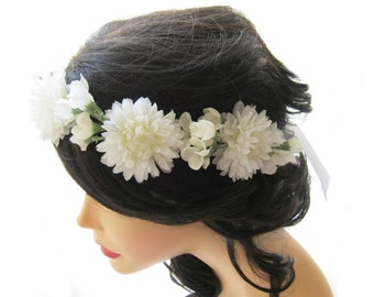 White flower crown, Floral head wreath, Flower hair crown, White flower bridal head piece