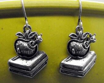 Bookworm Book Lovers Earrings Dangle Bookish Readers Literary Jewelry