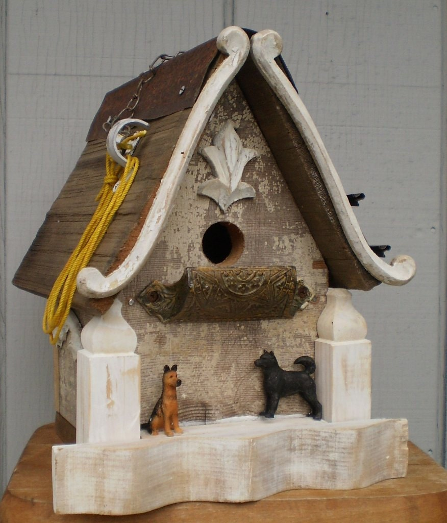 Primative barn wood bird house with guard dogs by lynnery - Old barn wood bird houses ...