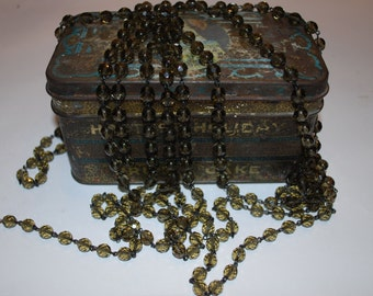3ft of Fabulous Black Diamond Czech 8mm Faceted Rosary Chain with Black Links