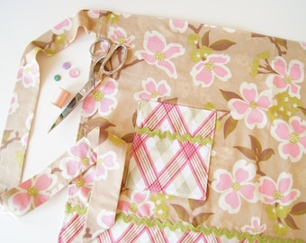 Half Apron - A Floral Bloom Wrap in pink and brown
