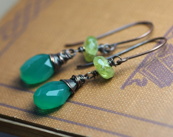 Green Earrings Green Onyx and Peridot Earrings Rustic Jewelry Antiqued Copper Wire Wrapped
