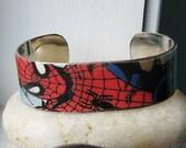 SPIDERMAN Vintage Comic Book Upcycled Cuff Metal Bracelet Marvel Comic Books