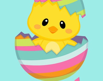Easter Chick on Aqua