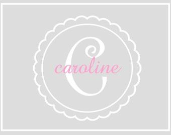 Custom grey background baby bridal notecards personalized customized monogram notes graduation birthday teacher gift