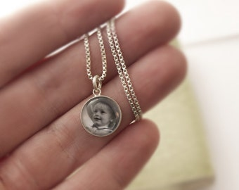 Personalized Silver Photo Charm with Glass
