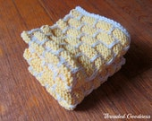 2 Yellow knitted dishcloths, wash rags, spa cloths, soft and durable, yellow and cream cotton dishcloth set
