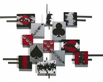 "Cards & Dice themed Contemporary Wood and Metal Wall Sculpture, Wall Art, ""Play the Game"" Wall hanging, Home and office Decor, unique, Art69"
