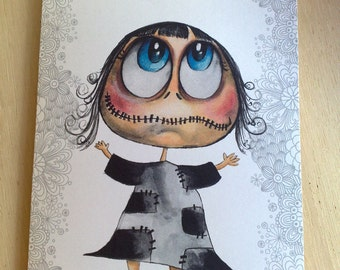 Greeting card-  the zeropumpkin character ( Lily girl )
