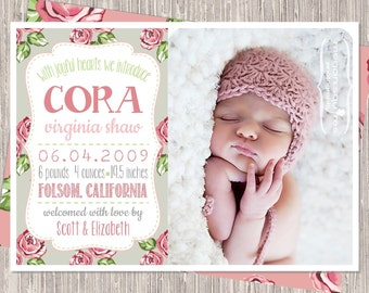 Pink & Gray Birth Announcement - baby girl birth announcement - floral - with joyful hearts - printed or printable