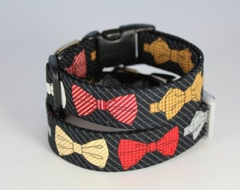 Herringbone, houndstooth, and striped bow tie dog collar-- in scarlet, lacquer red, dove gray and black