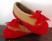 Wool Felted Hand Knit Slippers for Women