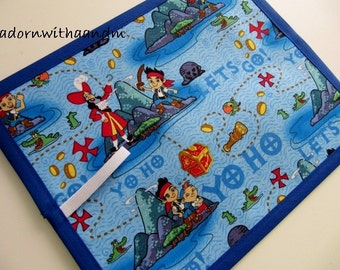 Chalkimamy TRAVEL chalkboard mat made with Disney's Jake and the Neverland Pirates fabric