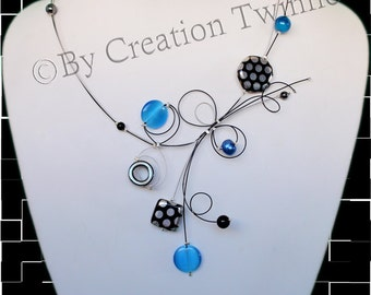 sky blue black necklace,unique handmade,bridal jewelry,funky necklace,bridesmaids gift ,mothers days gifts, delicate jewelry,wedding jewelry