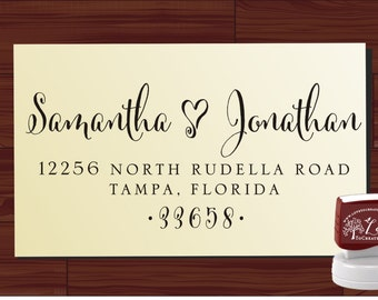Return Address Stamp - Calligraphy Handwriting Script Custom Personalized SELF INKING Wedding Stationery Stamper - Style 1280Y