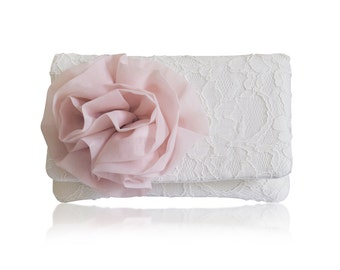 Blush and ivory lace bridal clutch purse